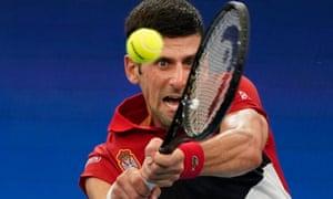 Novak Djokovic of Serbia in action against Canada's Denis Shapovalov in their quarter-final match.
