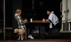 People dining outdoors in Geelong, Australia.