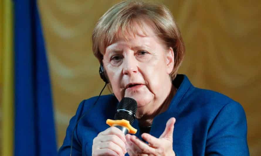 Angela Merkel speaks during a visit to Ukraine.