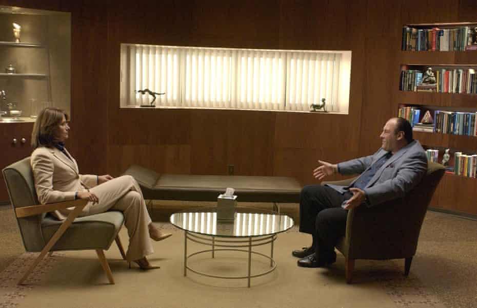 The doctor will fear you now … Gandolfini with Lorraine Bracco as therapist Dr Jennifer Melfi.