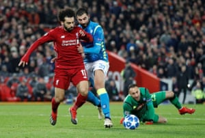 Mohamed Salah takes the ball away from Ospina but is unable to finish.
