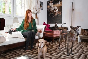Klea Levin with rescued greyhounds