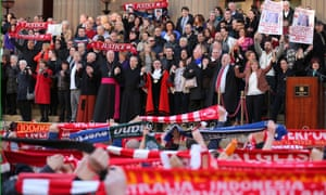 Margaret Aspinall joins thousands of people outside Liverpool's Saint George's Hall for a vigil for the 96 victims of the Hillsborough tragedy.