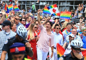 The Canadian prime minister, Justin Trudeau, at a pride parade in Toronto.