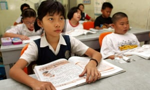 Students attend a class at a Chinese primary school in Kuala Lumpur