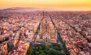 Aerial shot of the Sagrada Familia in Barcelona, Spain.