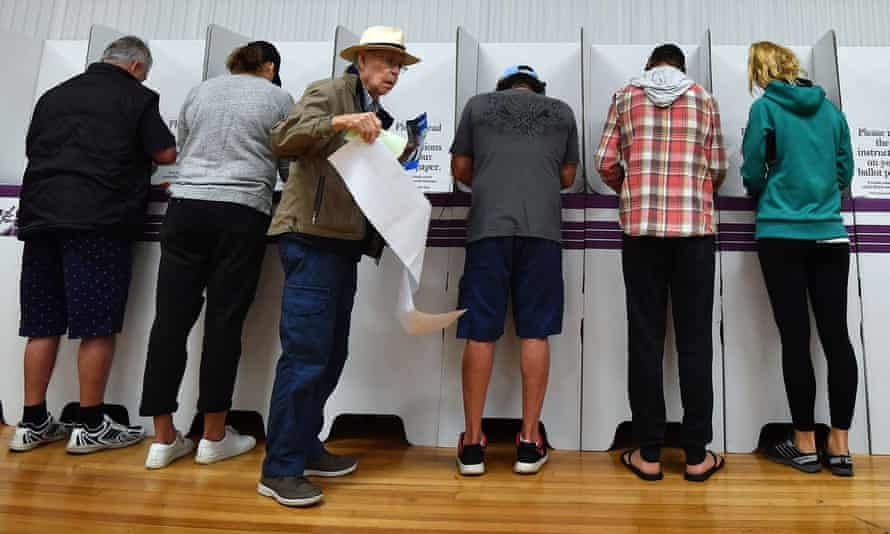 Voters fill their ballot papers at Australia's last federal election on 18 May 2019