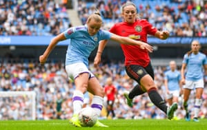 Manchester City's Georgia Stanway, left, faces six weeks out with a hamstring injury.