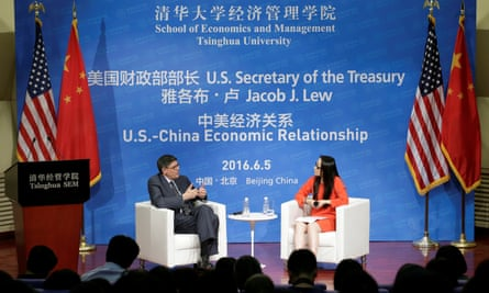 US Treasury secretary Jack Lew at a discussion about the US-China economic relationship in Beijing