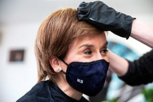 Nicola Sturgeon getting her hair cut by Julie McGuire at Beehive Hair and Make up in Edinburgh yesterday, as hairdressers were allowed to reopen.