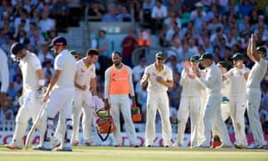 Australia players celebrates after Joe Root is given out after referral.