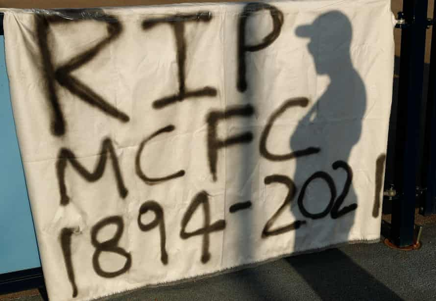 A banner outside Manchester City's Etihad Stadium in response to the club's involvement in the European Super League.