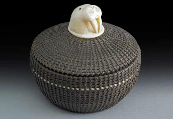 Basket with carved walrus head decoration, made with baleen, bird quills and walrus ivory by Marvin Peter (1911–1962).