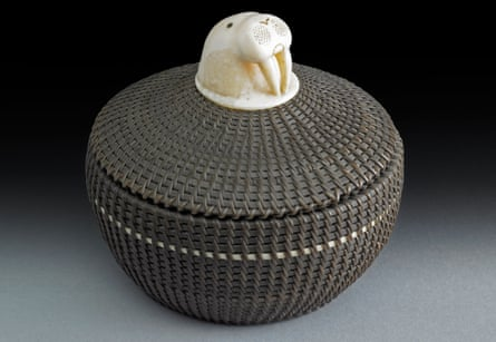 From the top of the world … basket with carved walrus head, 1952, by Marvin Peter.