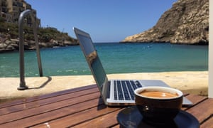 Laptop, coffee and beach in Gozo