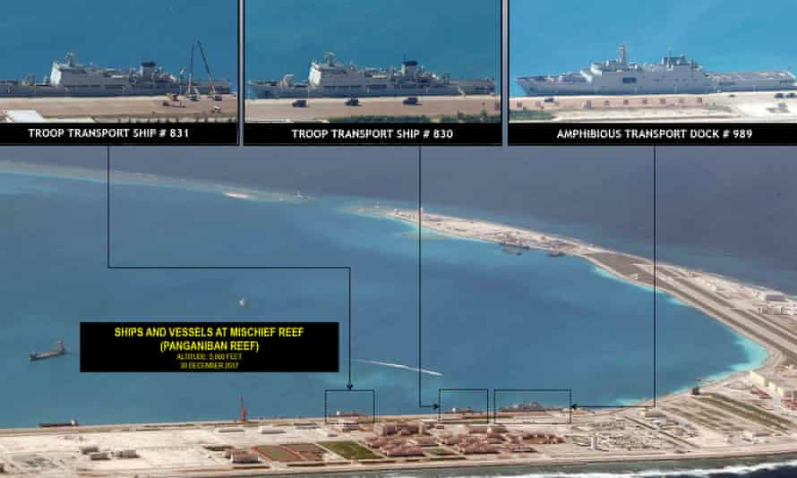 Images from the Philippine Daily Inquirer showing Mischief Reef