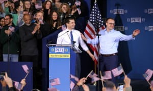 Pete Buttigieg and his husband Chasten Buttigieg attend a rally to announce in South Bend, Indiana.