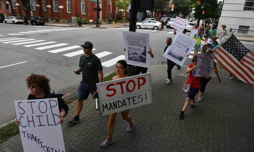 Anti-vaccine protesters rally against coronavirus restrictions in Raleigh, North Carolina, at the weekend.