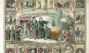 Martin Luther burning the Papal Bull excommunicating him