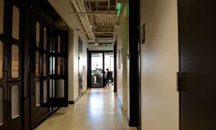 WeWork offices in San Francisco. Phone booths function as private work stations frequently used by WeWork members to make voice and video calls.