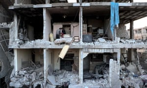 A view of damaged Arbin Hospital after an airstrike carried out by Assad regime forces in Arbin district of Eastern Ghouta in Damascus, Syria on 21 February