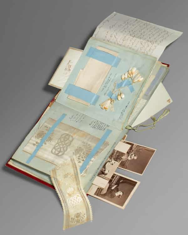 Photographs and mementoes in the album