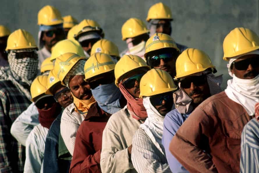 Construction workers on natural gas refinery site south of Doha, Qatar