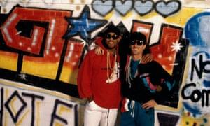 John Barnes, left, and Craig Johnston recording the video for Anfield Rap, April 1988.
