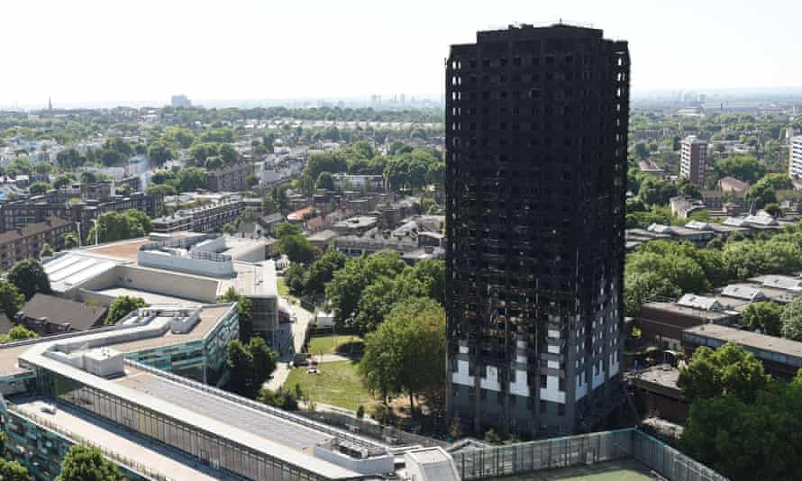 The burnt shell of Grenfell Tower, west London.
