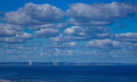 Tees-side wind farm seen from Saltburn by the Sea, North Yorkshire.