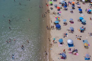 'A border-free Europe is not the prerogative of tourists and Inter-rail travellers.' A reopened beach near Thessaloniki, Greece, 16 May 2020.