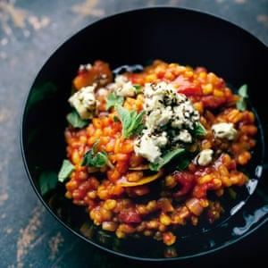 Barley risotto with marinated feta.