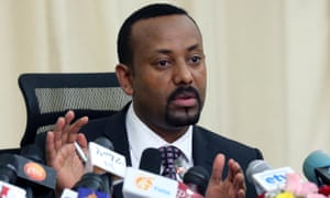 Abiy Ahmed at a 2018 news conference