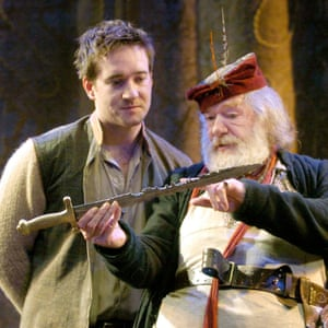 Macfadyen as Prince Hal and Michael Gambon as Falstaff in Henry IV Parts I and II at the Olivier theatre, London, 2005.