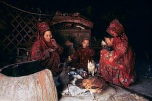 Turkmen family eating in a yurt, Afghan Turkestan 1973
