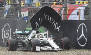 Lewis Hamilton damaged a front wing in crashing