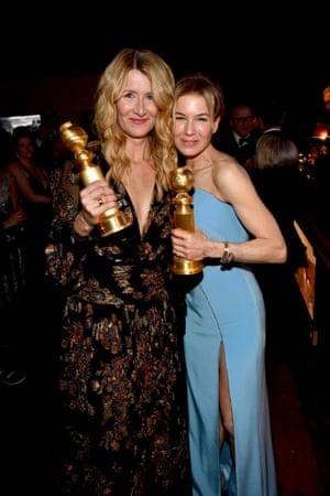 Laura Dern and Renée Zellweger with their awards