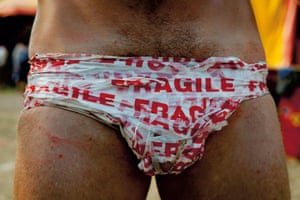 Pants made from packing tape printed with the word 'Fragile' Glastonbury Festival 2010