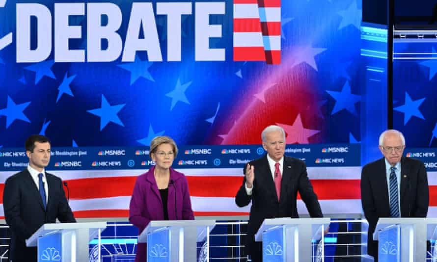 Pete Buttigieg, Elizabeth Warren, Joe Biden and Bernie Sanders at the last debate, in November.