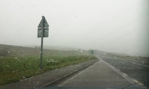 Snow falling near Inverness in the Scottish Highlands on 3 May.