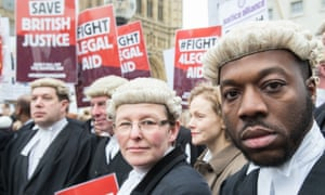 Barristers and solicitors at a rally in London
