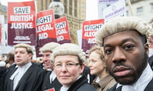 Barristers and solicitors protesting against legal aid cuts outside parliament, London, 7 March 2014