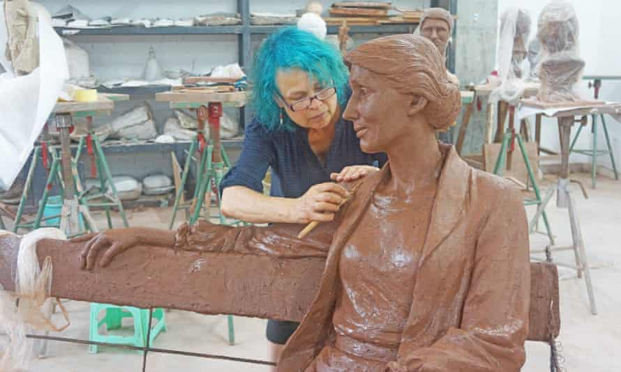 Laury Dizengremel working on a clay model of the Virginia Woolf, intended to sit in Richmond, London.
