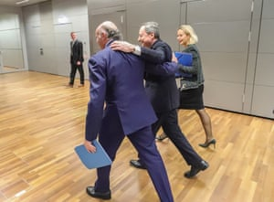 Mario Draghi (centre), President of the European Central Bank (ECB), and Luis De Guindos (left), Vice President of ECB, leaving today's press conference