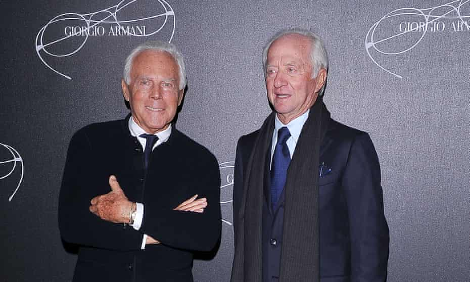 Leonardo Del Vecchio (right) with Giorgio Armani  in Milan, 2013