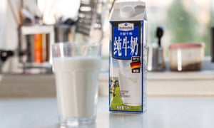 A carton of imported German milk on a kitchen counter in a home in Beijing