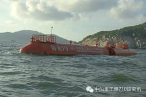 Chinese wave power device in the sea.