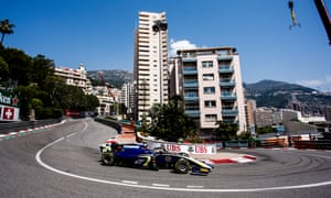 Lando Norris drives for Carlin at the Monaco Formula Two race in May.