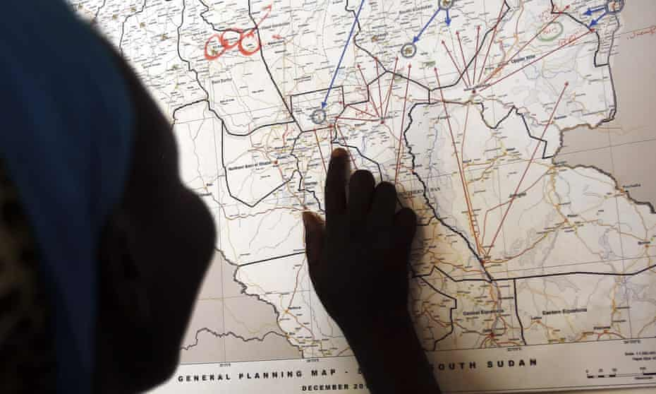 A South Sudanese survivor of sexual violence points out where she used to live in Unity state.