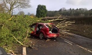 A car damaged by a tree which left two men injured, on the A49 north of Church Stretton in Shropshire